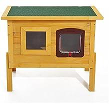 PawHut - Caseta para mascotas de madera de abeto, ...