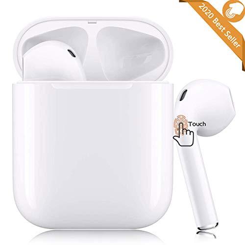 Bluetooth Headset 5.0, Écouteurs tactiles sans Fil, Microphone intégré et étui de Chargement, réduction de Bruit stéréo 3D HD pour Casques Apple Airpods iPhone Samsung/Android