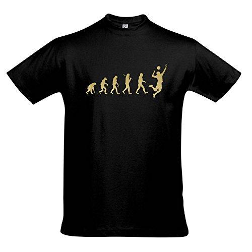 T-Shirt - EVOLUTION - Volleyball Sport FUN KULT SHIRT S-XXL , Deep black - gold , L