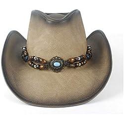 HONG YI-HAT Accesorios de Vestir Sombrero de Vaquero de Cuero Moda Mujer Hombre Sombrero de Vaquero de Cuero con Correa de Cuero Turquesa Gorras de Vaquera de Fedora (Color : Tan, Size : 58-59)