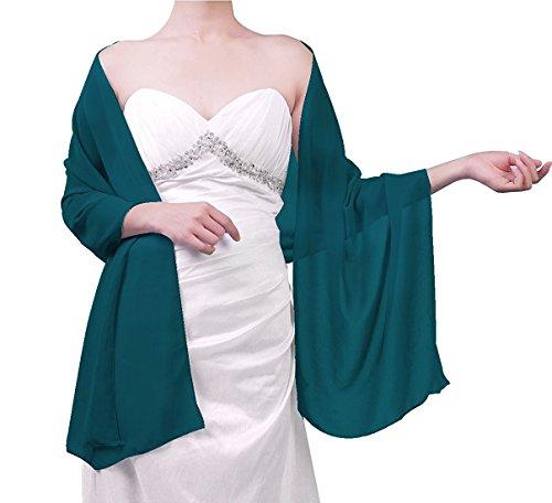 Beyonddress Damen Trend Fashion Schal Cape Wraps Sheer weichen Chiffon Braut-Shawl für Besondere Anlässe (27 Farben) Teal Grün (Sheer Grün)
