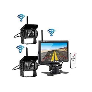 JK-Kabellose-Rckfahrkamera-und-Monitor-Kit-7-Zoll-24G-Dual-HD-Nachtsichtkamera-mit-Zwei-geteilten-Bildschirmen-fr-Busse-Wohnmobile-und-LKWs