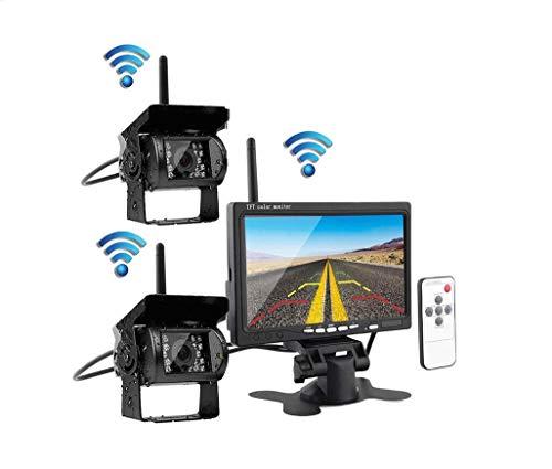JK Kabellose Rückfahrkamera und Monitor-Kit, 7-Zoll-2.4G-Dual-HD-Nachtsichtkamera mit Zwei geteilten Bildschirmen für Busse, Wohnmobile und LKWs