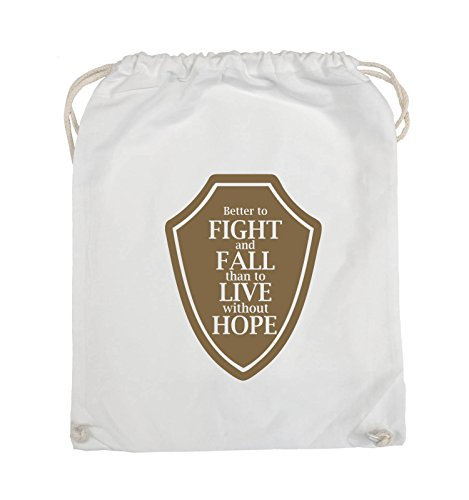 Comedy Bags - Better to fight and fall than to live wihtout hope - Turnbeutel - 37x46cm - Farbe: Schwarz / Pink Weiss / Hellbraun