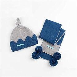 LF Bebé otoño e Invierno Modelos bebé recién Nacido Gorra Masculina bebé Sombrero Bufanda combinación (Color : Blue)