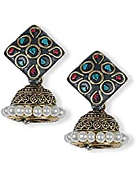 Anetra Chand Bali Earrings for Women (Black)(ads_019)