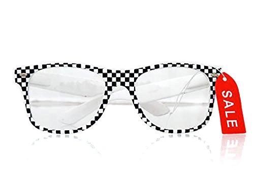 Original Nerd Clear G-13/BU184 Wayfarer Brille im Karo-Design Ohne Stärke!.