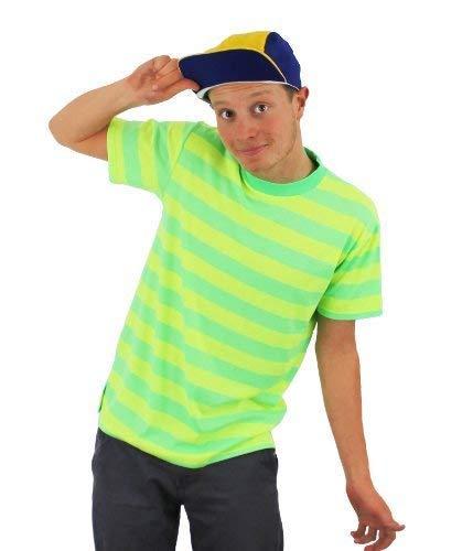 ILOVEFANCYDRESS Bel AIR Prince Fancy Kleid KOSTÜM NEON GELB & GRÜNES Streifen-T-Shirt + GELB & Blaue Baseball-STILKAPPE Retro-TV-Charakter 90'S - GRÖSSE MITTEL - 36