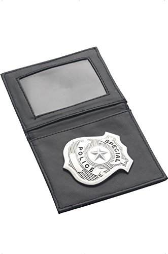 Smiffys Police Badge in Wallet - Black/Silver