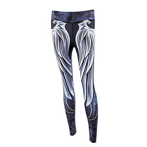 VJGOAL Angel Wing Print Hip High Waist Yoga Leggings Women High Waist Yoga Fitness Leggings Running Gym Stretch Sports Pants Trousers