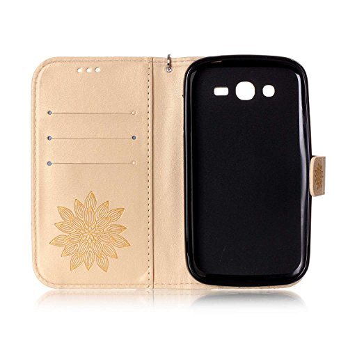Galaxy Grand Neo Plus Coque Rabat,Housse Samsung Galaxy Grand Neo Plus Bling Bling,Ekakashop Jolie Brun Dreamcatcher Strass étoiles Paillettes Brillant Design Bookstyle Portefeuille à Fermeture Wallet D'or Demi-fleur