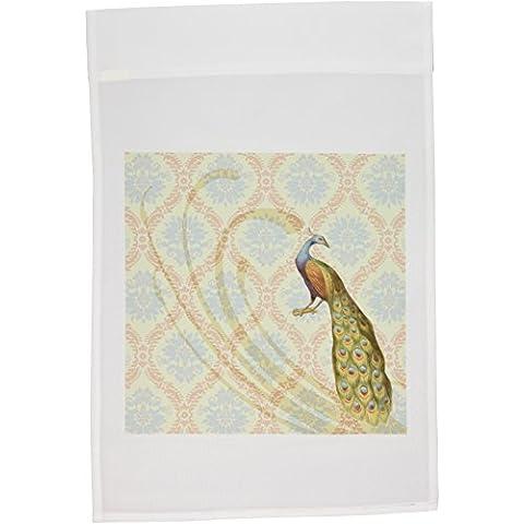 3dRose FL _ 104630_ 1Vintage Elegante Stile vittoriano Peafowl Pavone damascato giardino Bandiera, 12da