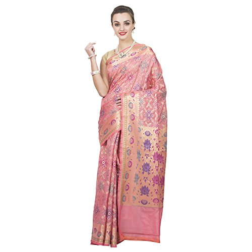 Craftghar Tissue Saree (X-06-096-Sre_Multi,Light Pink,Gold)