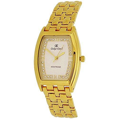 Oskar Emil Montrose Unisex de las señoras caballeros 23 K reloj de acero inoxidable bañado en oro