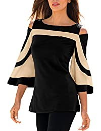LEvifun Clearance Women Blouse and Tops Lady Cold Shoulder Patchwork 3/4 Bell Sleeve Shirt On Sale