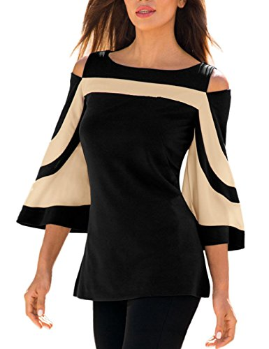 LEvifun Clearance Women Blouse and Tops Lady Cold Shoulder Patchwork 3/4 Bell...