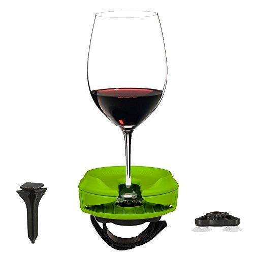 Bella D'Vine - Portabicchiere da vino per esterno, per bicchieri con e senza stelo, portatile per picnic, gite in barca, camper, vasche da bagno o vasche idromassaggio, idea regalo - Verde lime