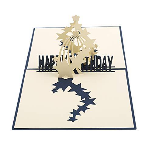 Kingus 3D Blossom Pop Up Grußkarte Postkarte Jubiläum Papier schneiden Geburtstag Karte Handwerk Geschenk, Sternenhimmel