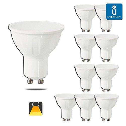 Aigostar-Pack-de-10-Bombillas-LED-GU10-6W-390-lumen-luz-calida-3000K-Clase-de-eficiencia-energtica-A