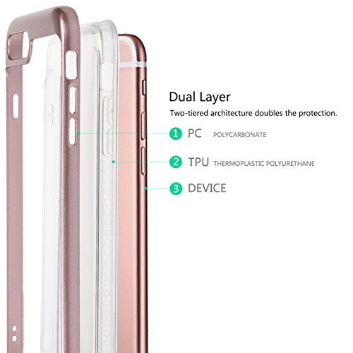 "Housse pour iPhone 6/ 6S, xhorizon TM MLK Housse Fine 2 en 1 Transparent Prise Renforcée Coussin pour iPhone 6 / iPhone 6S [4.7""] avec 9H film de protection verre trempée Argenté +9H Glass Tempered Film"