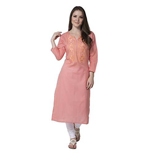 Attire4ever Women's Cotton Straight Kurta(DG-0015-EMB-L Pink Large)