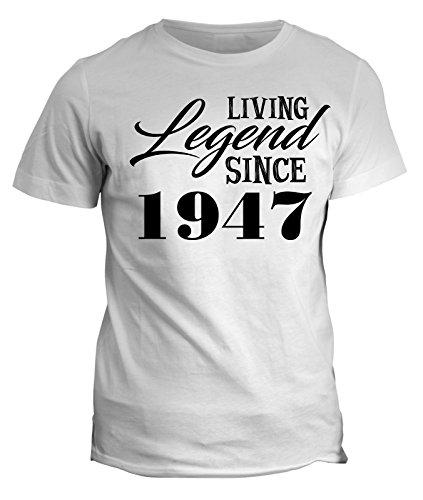 Tshirt Living legend since 1947 - idea regalo - happy birthday - in cotone by Fashwork Bianco
