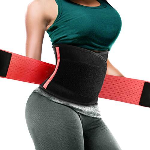 Damen Training Waisttrainer Fitnessgürtel Schwitzgürtel zur Fettverbrennung Taille Trimmer Gürtel, Dual Verstellbarer Bauch Waist-Schwarz und Rosa