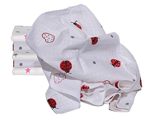 Clevere Kids Mulltücher Little Stars 6er Pack 100% Baumwolle schadstoffgeprüft doppelt gewebt (Herzkäfer pink-star)