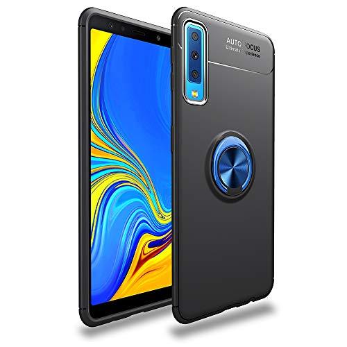 LAGUI Passend für Samsung Galaxy A50 Hülle, Ultradünne Weiche Silikon Magnetischen Autohalterungen Spezielle Handyhülle Mit 360 ° Verdrehbare Ring. blau+schwarz