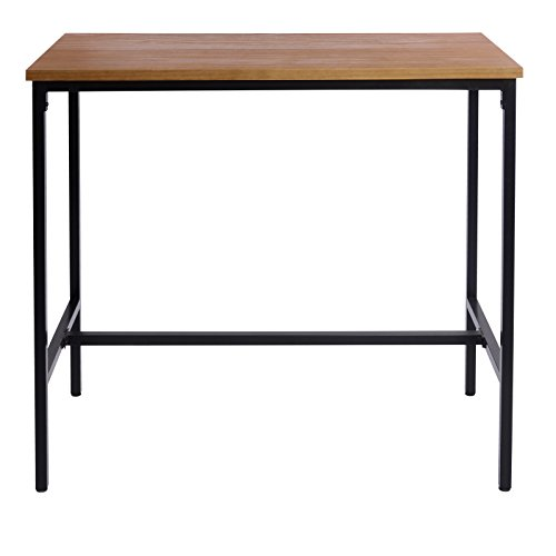 eSituro SBST0286 1 x Bartisch Esstisch Küchentisch Stehtisch Gartentisch Esstisch Tisch, Tischplatte aus hochwertigem Massivholz 120x66x110cm(BxTxH), Eiche