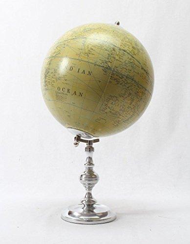 Brass & Copper Classics 8 inch Big Desktop Rotating Vintange / Antique Style Educational World Globe / Earth Globe / Political Globe / Geography Globe/ Office Globe / Home Decor / Study Globe with Aluminium Stand - British Green