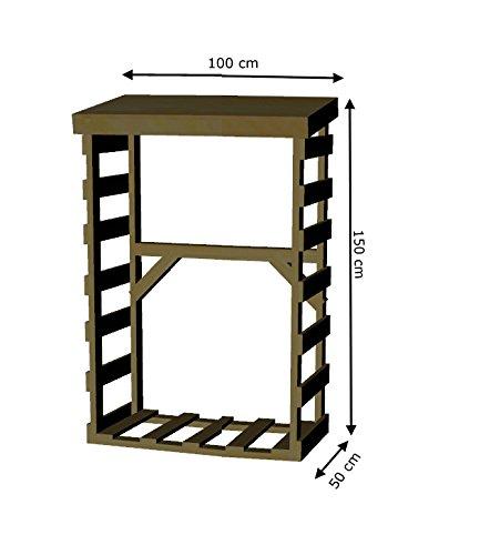 AD servicios Armario leñero de Madera tratada de 150 x 100 x 50 cm