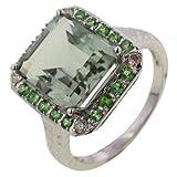 Green Amethyst, Tsavorite & Diamond 9ct White Gold Cocktail Ring
