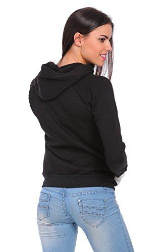 futuro Fashion femmes actif capuche fermeture éclair avec poches avec AVANT manches longues imprimé manteau haut survêtement couleurs 8-14 fz64 Blanc