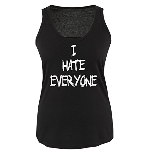 Comedy Shirts - I HATE EVERYONE - Damen Tank Top - Schwarz/Weiss Gr. L -