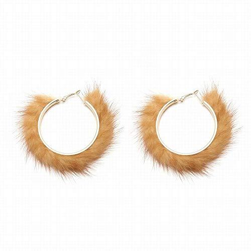 Nerz Ohrenschützer (Funytine Frauen Persönlichkeit Ohrringe geometrisch geschwungene Wasser Nerz Ohrringe Ohrringe (Color : Gold))