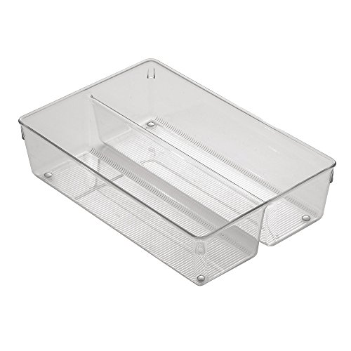 InterDesign Linus Cutlery Tray for Silverware, Medium Kitchen Accessories for Storage and Organising, Made of Durable Plastic, Clear