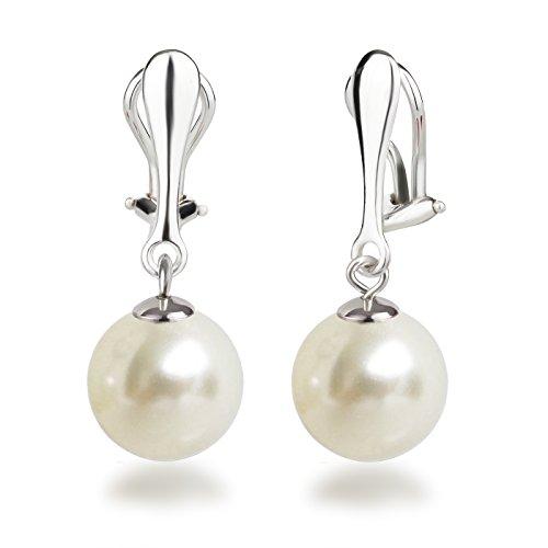 Schöner-SD Perlen Ohrclips Hänger Clip Ohrringe 925 Silber mit runden Perlen 12mm groß cremeweiß