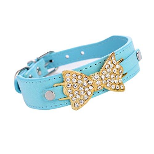 Ularma Collar de perro, mascotas el arco collar de cuero con el Bling Crystal (M, azul)
