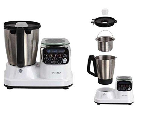 Küchenmaschine mit Kochfunktion Starke 1200 Watt Küchenwaage Edelstahl-Klingen Timer Einfache Bedienung (Edelstahl-Schüssel 2,5 Liter, Knetmaschine, Rührmaschine, Turbofunktion, LCD-Bildschirm, Wiegefunktion)