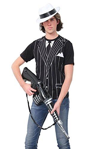 Islander Fashions Maglietta stampata della mitragliatrice gonfiabile del gangster degli uomini di mode cappello di Al Capone del cappello operato medio