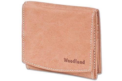 Woodland® - Kleine Geldbörse mit großem Hartgeldfach (Wiener Schachtel) aus naturbelassenem, weichem Büffelleder in Cognac, Beige