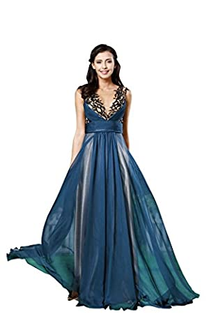 YUXING Damen Abendkleid Maxi Dress a-line Short Sleeve Chiffon Futter für Party Prom Ball Cocktail Kleid (12, blue)