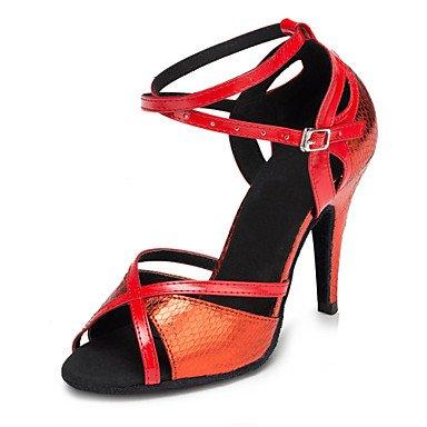 Silence @ pour femme Chaussures de danse latine/Salsa/Samba Cuir/similicuir Talon Bleu/rouge/doré doré