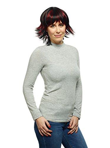 'Katy' weibliche Perücke Schwarz mit Rot kurz glatt aus Kanekalon Kunsthaar (wie Echthaar) mit geringem Eigengewicht, waschbar, atmungsaktiv, Kopfumfang verstellbar, inkl. Haarnetz ()