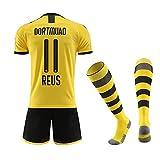 Fußball-T-Shirt Sportanzug Trikot, Borrusia Dortmund BVB Home #22 Christian PULISIC, Reus #11 HeimFußball-Sportbekleidung, Jungen-T-Shirt Für Kinder + Kurz + Socke (4-6Years/22, Reus 2020)