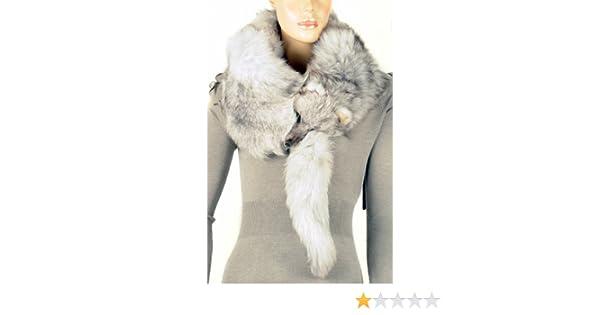 bad0340aaa23 Waooh - Fourrure - Echarpe en Renard entier - Couleur Gris  Amazon.fr   Vêtements et accessoires