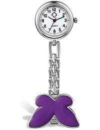 Lancardo Orologio da Tasca Donna Infermiere Medico Quadrante Digitale Ultrasottile Impermeabile Risvolto Tasca Fibbia dell'orologio Viola Regalo Perfetto
