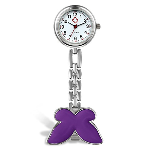 Lancardo Orologio da Tasca Donna Infermiere Medico Quadrante Digitale Ultrasottile Impermeabile Risvolto Tasca Fibbia dell'orologio Viola