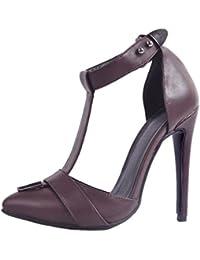 Kolnoo Damen Patent T-Strap DOrsay Stil Party Prom High Heel Mode Pumps